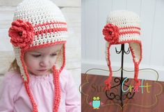 Simple stripe ear flap with a flower for girl, plain stripe for boy