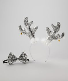 Take a look at this Silver Reindeer Headband & Bow Tie by So Girly & Twirly on #zulily today!