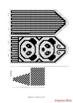 Вот такие оригинальные варежки с пандами согреют Ваши ручки зимой.  Успехов! Knitting Charts, Knitting Patterns, Mitten Gloves, Mittens, Stitch 2, Cross Stitch, Half Gloves, Crochet Chart, Hand Warmers