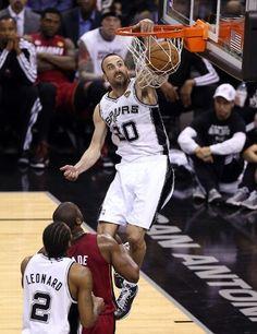 A ferocious slam by Manu Ginobili. (June 11, 2013   NBA Finals 2013   Game 3   Miami Heat @ San Antonio Spurs   AT Center in San Antonio, Texas)