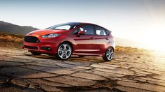 2014 Ford Fiesta Hatchback, ST, red car, side, wallpapers