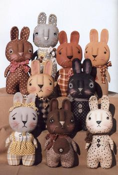 THIS IS NOT A FINISHED ITEM Primitive Cloth Doll PATTERN - Spring Line-Up is by Happy Heart Patterns Oh my, look at all the bunnies lining up for a spring appearance! Make all these stump bunnies from one basic pattern. The basic pattern has one body piece and one head piece making