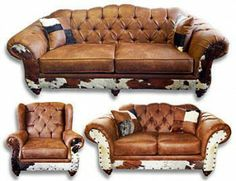 Beautiful southwestern living room sofa group made of microfiber and cowhide Living Room Furniture