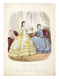 Fashion Plate Showing Ballgowns, Illustration from 'La Mode Illustree', 1864 Giclee Print