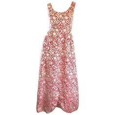 Preowned Ceil Chapman 1960s Raspberry Pink + Gold Silk Brocade Flower... ($2,195) ❤ liked on Polyvore featuring dresses, gowns, evening gowns, pink, empire waist evening gowns, empire waist evening dresses, red cocktail dress, evening dresses and red evening gowns