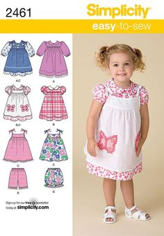 Toddlers Dress, Pinafore etc Simplicity Pattern No. 2461. Age 6 months to 4 years