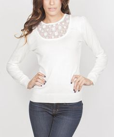 This Ivory Sheer-Panel Top by Yuka Paris is perfect! #zulilyfinds