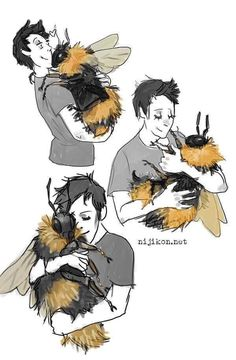 All I want is a bumble bee big enough to hug. Is that really to much to ask for, science? Creature Drawings, Animal Drawings, Cool Drawings, Pretty Art, Cute Art, Mythical Creatures Art, Creature Concept Art, Art Reference Poses, Art Inspo
