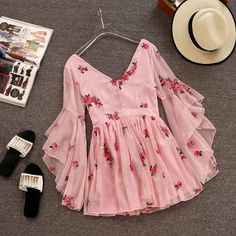 V-neck Flare Sleeve Flower Short Ruched Mini Pink Chiffon Dress SE – deevybuy Clothes Teen Fashion Outfits, Trendy Outfits, Fashion Dresses, Cute Outfits, Style Fashion, Dress Outfits, Stylish Dresses, Cute Dresses, Casual Dresses