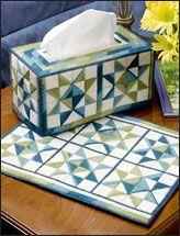 "Plastic Canvas""Ohio Star"" Tissue Cover & Place Mat"