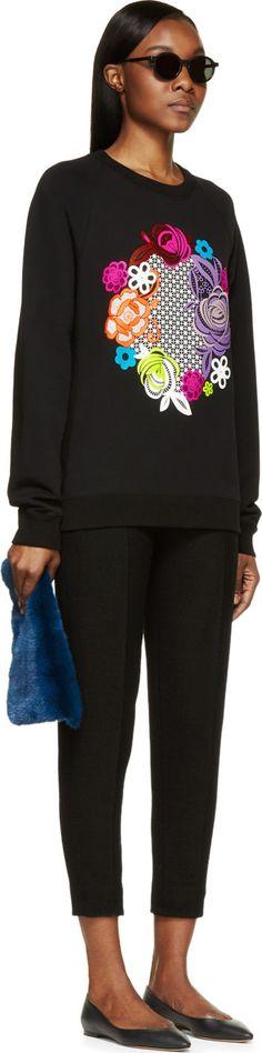 Christopher Kane Black Floral Graphic Sweatshirt
