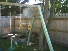 I would like to build a simple A-frame style swing set, which obviously has to be safe while also accommodating up to two swings. Where can I find plans for building such a swing set? A Frame Swing Set, Porch Swing Frame, Swing Set Plans, Backyard Swings, Backyard For Kids, Homemade Swing Set, Small Wooden Desk, Kids Swing, Diy Table