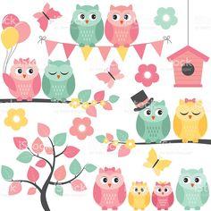 Summer owls royalty-free stock vector art