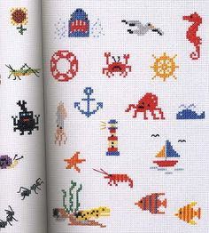 Nautical themed mini-cross stitch patterns (there are even more cute mini-patterns on this link...check them out!).