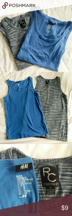 """2 Men's tank tops 2 men's tank tops in excellent condition. Gently used with no defects. The striped one looks brand new! Solid blue tank is organic cotton by H&M and the striped """"space dyed"""" tank is by R.C. Chereskin. H&M Shirts Tank Tops"""