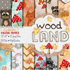 Cute Woodland Digital Paper: Forest Fall Digital Scrapbook Paper, woodland animals, patterned papers, seamless patterns, watercolor forest by SunlikeStar on Etsy #woodland #nursery #cardmaking #baby