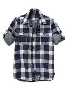 Boys --- Convertible checker double-weave shirt | Gap