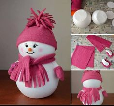 Try making with stuffed white material instead of wood. Use what's on hand. Snowman Crafts, Cute Crafts, Christmas Projects, Holiday Crafts, Crafts For Kids, Diy Crafts, Holiday Decor, Pink Christmas Decorations, Christmas Tree Ornaments