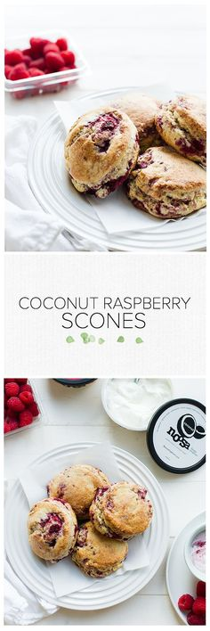 Coconut Raspberry Scones | www.kitchenconfidante.com | Light and tender scones, perfect for brunch when served with noosa yoghurt! #spon