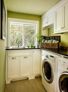 PERFECT layout for a long, narrow laundry room with window on the far wall. Excellent use of dead corner, will have the contractor copy this layout just add a shelf above the sink with hanging bar there. laundry room with sink Home, Vintage Laundry Room, Room Storage Diy, Decor Design, Room Layout, House, Small Storage, Laundry Room Storage, Room Design