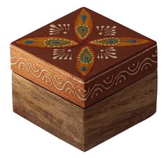 "Bulk Wholesale Handmade 2.5"" Square Mango-Wood Jewelry Box / Trinket Box in Brown & Natural Wood Color Decorated with Cone-Painting Art of Traditional-Look Motifs – Antique-Look Boxes from India"