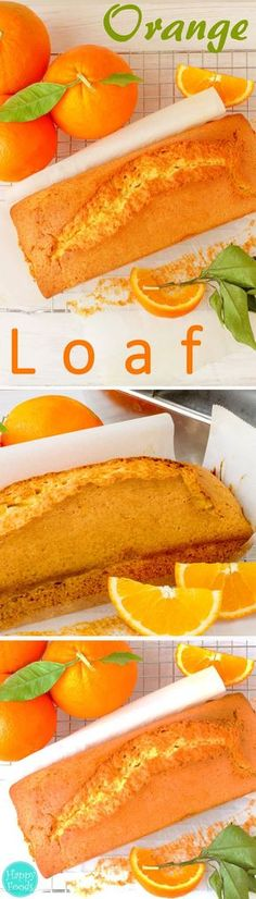 Orange Loaf Cake - A perfect treat for a coffee/tea break and absolutely delicious when butter with jam or honey are spread over. Super easy recipe   http://happyfoodstube.com