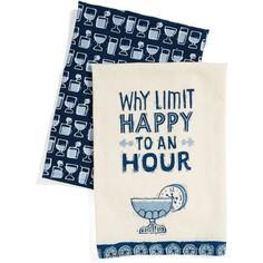Primitves By Kathy Happy Hour Set Of 2 Dish Towels ($24) ❤ liked on Polyvore featuring home, kitchen & dining, kitchen linens, blue, blue dish towels, twin pack and primitives by kathy