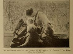 """The messenger (airedale) receives praise from his master""  ""War Dogs of Sweden"" is a one reel production of the Pathe Freres company.  Motography - Electricity Magazine Corp. - 1914"