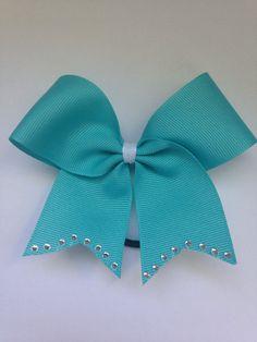 Tiffany Blue Mini Cheer Bow w/ Rhinestones by CheerBowsBySydney