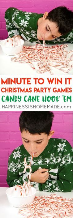 Candy Cane Hook 'Em #christmasgame #partygames #minutetowinit #candycane