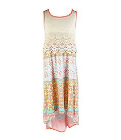 My Michelle 716 CrochetedTrim Popover PrintedSkirt Dress #Dillards