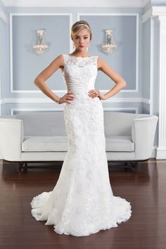 Lillian West Beaded Lace Backless Gown with Pleated Satin Waist