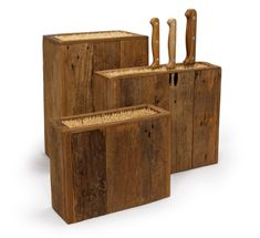This Reclaimed Wood Knife Holder with Bamboo Sticks not only takes up less space, but accommodates a variety of different knives.  - the epi log