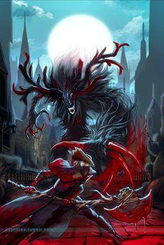 Heyo uploading more Bloodborne art I made. Fighting the Cleric Beast Bloodborne Art, Bloodborne Characters, Arte Dark Souls, Red And Black Background, Seven Knight, Chibi, Old Blood, Cleric, Arte Horror