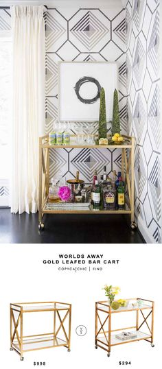 Worlds Away Gold Leafed Bar Cart for $998 vs Mia Bar Serving Cart for $294 copycatchic luxe living for less budget home decor and design http://www.copycatchic.com/2017/02/candelabra-worlds-away-gold-leafed-bar-cart.html?utm_campaign=coschedule&utm_source=pinterest&utm_medium=Copy%20Cat%20Chic&utm_content=Worlds%20Away%20Gold%20Leafed%20Bar%20Cart