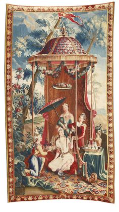 "A FRENCH CHINOISERIE TAPESTRY PANEL, DEPICTING 'THE EMPRESS'S TEA', FROM A SERIES OF THE EMPEROR OF CHINA, AFTER DESIGNS BY GUY LOUIS VERNANSAL, JEAN-BAPTISTE BELIN DE FONTENAY, AND ""BAPTISTE"" MONNOYER  SECOND QUARTER 18TH CENTURY, BEAUVAIS"