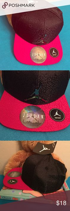 Jordan Infant SnapBack Cap Authentic Jordan Infant Snapback Cap. Unisex. 12-24 Months. Unisex. Textured Black with Textured Gym Red Bill. Metallic 3D Jumpman on the Front Center. Vented. Red SnapBack with Jumpman Tab on the Back too. 100% Polyester. Brand New. Excellent Condition. No Trades. Also currently Available in Black & Bright Green Combo. See the Separate Listing. Jordan Accessories Hats