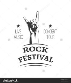 Music style logo templates. Rock festival. Concert tour banner and label. Hand rock badge. Rock and roll sign. Rock On! Vintage retro music symbol.