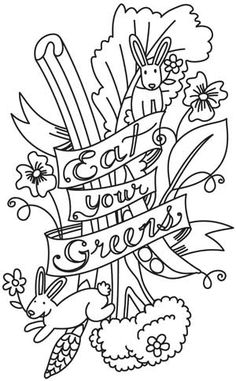 Embroidery Designs at Urban Threads - Eat Your Greens