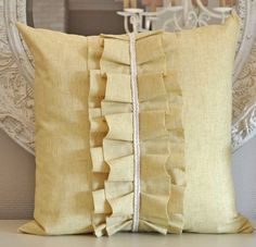 Items similar to SALE Ruffle Pillow cover on Etsy Cute Pillows, Throw Pillows, Sisal, Ruffle Pillow, Cushion Cover Designs, Thread Art, Sewing Pillows, Fabric Manipulation, Have Time