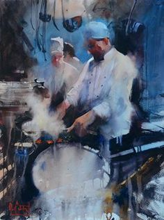 Kai Fine Art is an art website, shows painting and illustration works all over the world. Art Aquarelle, Watercolor Artists, Watercolor Portraits, Watercolor Landscape, Watercolour Paintings, Watercolours, Painting People, Figure Painting, Painting & Drawing