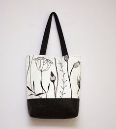 Black and White Tote, Canvas and Vegan Leather, Large Tote Bag, White Shoulder Bag, Cotton Tote Bag, Vegan Leather Bag, Printed Design Bag