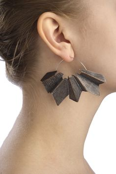 Fractal Earrings by Chelsea Fay - Oxidized Nu Gold, Sterling Silver  -  2 x 2.5 x 1