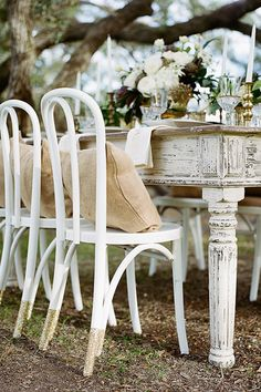 shabby chic farmhouse table outside for party