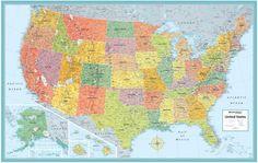 Rand Mcnally Us Wall Map (M Series U.S.A. Wall Maps) 50