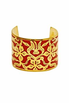 A study in contrasts; a deep ruby red background is encased by floral Moroccan inspired cut outs. Wear with the other cuffs from this collection for advanced style. One size fits most, base is adjustable.   Rabat Cuff by Made It!. Accessories - Jewelry - Bracelets New Jersey