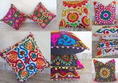 """5 pcs Lot Home Decor Embroidered Vintage Suzani Cushion Cover 16x16"""" Pillow Case #Ethnic"""