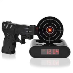 1 Set Desk Gadget Target Laser Shooting Gun Alarm Clock LCD Screen Gun Alarm  Colck/