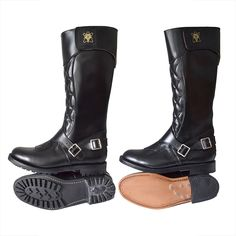 Goldtop Trophy Boots - Tall Quilted 1970s Police & Cavalry Style Motorcycle Boots with AERO zip - Made in England - Commando or Leather Sole BLUF