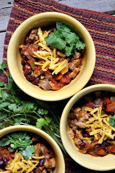 Quick and Easy Pork and Bean Chili recipe - from RecipeGirl.com. I love this recipe so much- chili with a sweet and smoky flavor, perfect comfort food recipe for a chilly day.